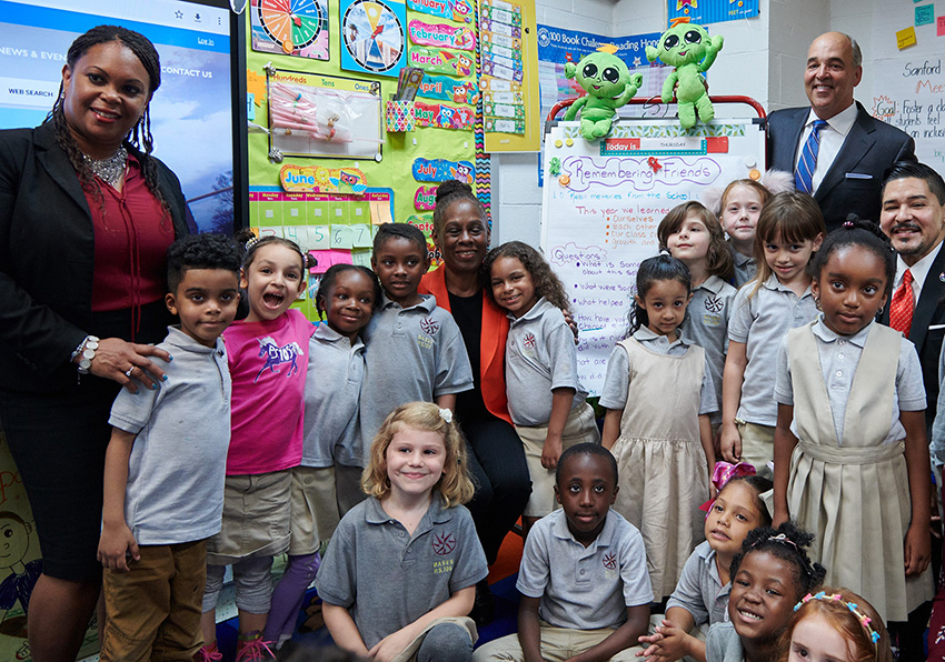 National University System Chancellor Dr. Michael R. Cunningham reflects Sanford Harmony's support of the city's commitment to create safer learning climates and foster student success across schools citywide.